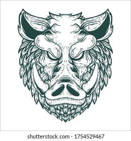 hand drawn boar tattoo artwork illustration