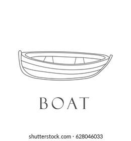 Hand drawn boat. Vector illustration