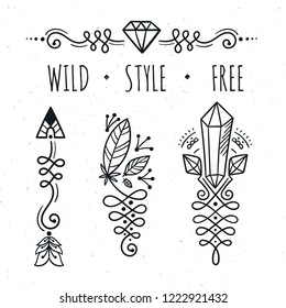 Hand drawn boho design elements set. Arrow, feathers, gems and unalome.