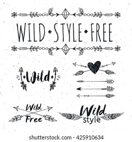 Hand drawn boho design elements set. Wild style labels with hearts, arrows, feathers. Vector decoration, divider, frame, border design.