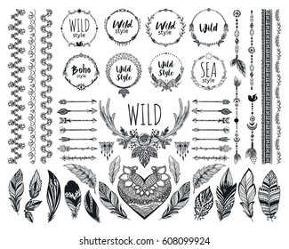 Hand drawn boho design elements set. Wild style round labels with heart, arrows, feathers. Vector ethnic decoration, divider, frame, border design.