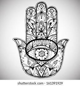 Hand drawn boho hamsa hand. Vector illustration.