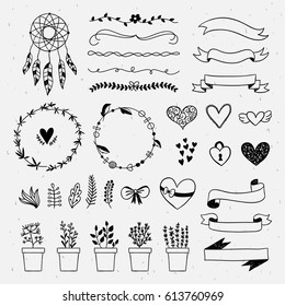 Hand drawn boho style design elements: dreamcatcher, ribbons, wreaths, florals and plants. Vintage rustic outline drawingsdre