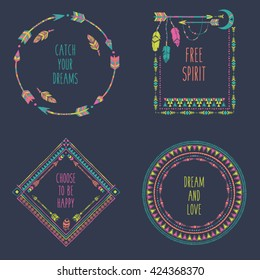 Hand drawn boho style frames with place for your text. Arrow and feather art vector illustration
