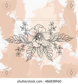 5b77b1219824c Hand drawn boho tattoo. Blackwork flower in hipster triangles frame. Vector  illustration, tattoo