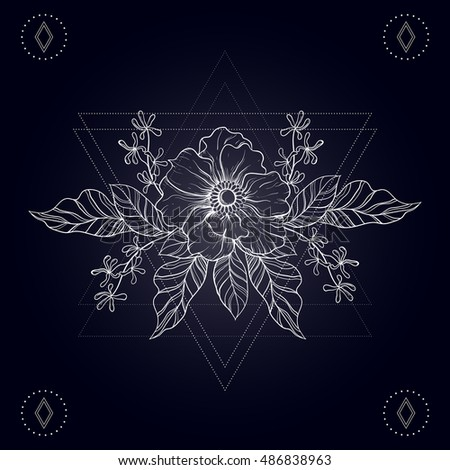 7733a21eb8f70 Hand drawn boho tattoo. Sketch of flower in hipster triangles frame. Line  art drawing