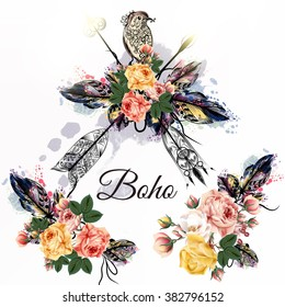 Hand drawn bo-ho tribal design with arrows roses and birds in watercolor hand drawn style