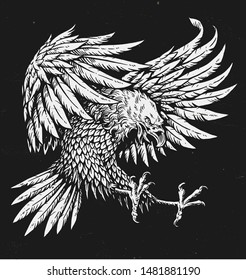 Hand drawn bold linework swooping tattoo eagle