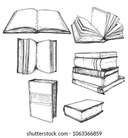 Hand drawn book sketch set, open and stack hatching drafts, isolated on white background, vintage vector illustration.