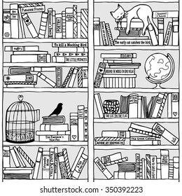 Hand drawn bookshelf with sleeping cat - black and white
