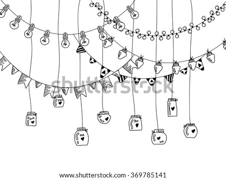 Hand Drawn Borders Garland Jars Doodle Stock Vector Royalty Free