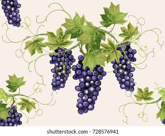 Hand drawn botanical vector seamless pattern with grape branches. Isolated on white background.