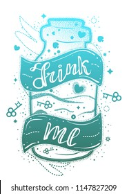 "Hand drawn bottle from Alice in wonderland tale with ribbon and quote ""drink me"". Tattoo style with double exposure effect."