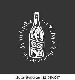 Hand drawn bottle of beer doodle. Sketch food and drink, icon. Decoration element. Isolated on black background. Vector illustration.