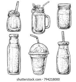 Hand drawn bottles and containers for smoothies. Fresh beverage for healthy life, diets. Vector illustration for greeting cards, magazine, cafe and restaurant menu