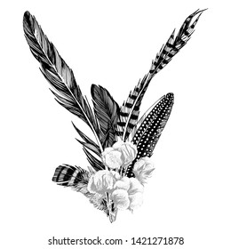 Hand drawn bouquet with feathers and cotton branch. Vector illustration