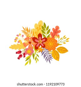 Of hand drawn bouquets. Floral composition with colorful leaves and flowers. Autumn, fall concept. Isolated vector