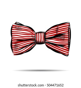 Hand drawn bow with striped. Vector illustration