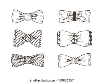 Hand drawn Bow Ties Vector Set. Men's Accessories. Design elements for Father's Day