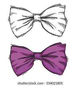 Hand drawn bow/Black and white and purple color/Vector illustration