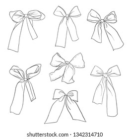 hand drawn bow-knots isolated at white background, vector illustration