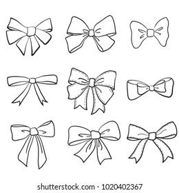 hand drawn bows collection, ribbon, decoraton. Giftbows