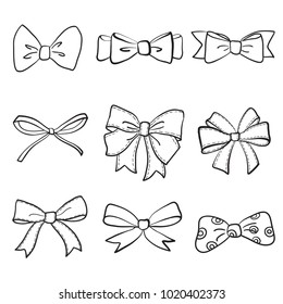 hand drawn bows collection, ribbon, decoraton. Giftbows