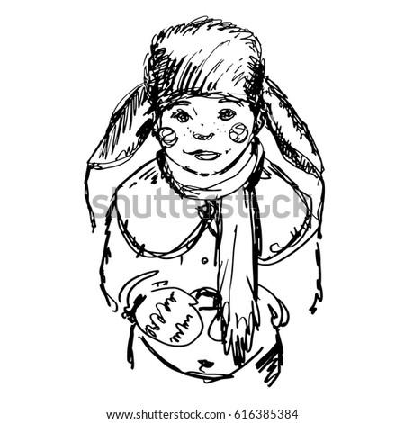 755e2b867bd Hand Drawn Boy Winter Clothes Coat Stock Vector (Royalty Free ...