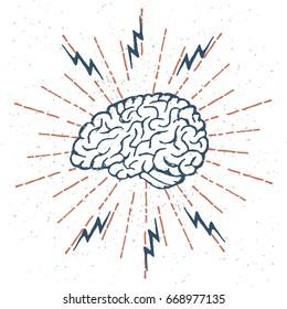 Hand Drawn Brain Lightning Bolts. Vector illustration