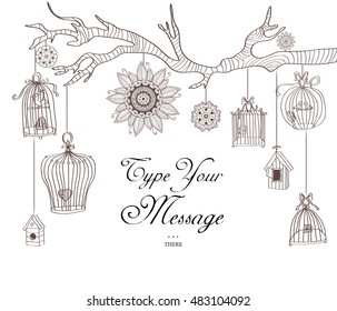 Hand drawn branch with bird cages and round ornaments.