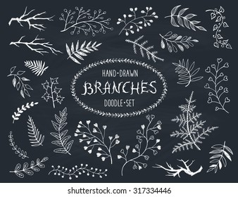 Hand drawn branches collection. Set of inc doodle branches isolated on white background. Floral decorative elements for postcard and invitation design. Vector illustration.