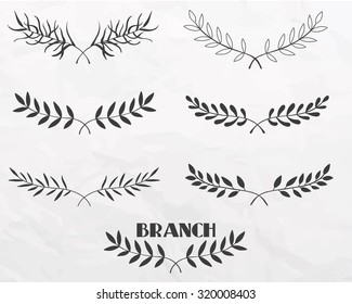 Hand drawn branches with leaves ink black