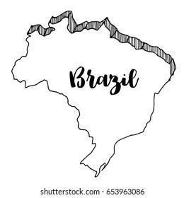 Hand drawn  of  Brazil map, vector  illustration