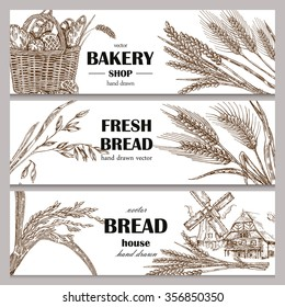 Hand drawn bread horizontal banners. Banner set. Vector illustration in sketch style.