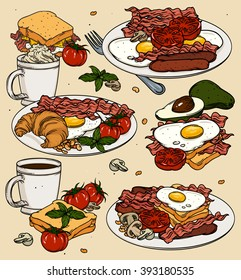 Hand drawn breakfast and branch background set.  Bacon, fried eggs, egg and cheese sandwich, tomato, sausage, coffee cup, toasted bread. Vector illustration.