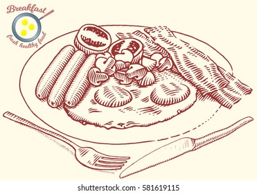 Hand drawn breakfast illustration in engraving style. Eggs, bacon, tomato, mushrooms, sausage, fork and knife. Vector dark elements isolated on light background.