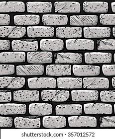 Hand drawn brick wall  seamless  pattern. White bricks old cartoon wall.