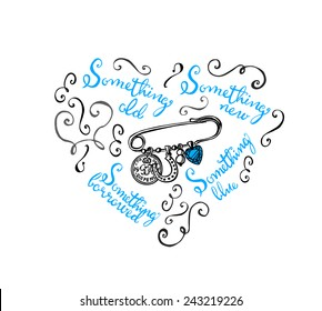 hand drawn bridal charm pin with ornaments lettering something old, something new, something borrowed, something blue