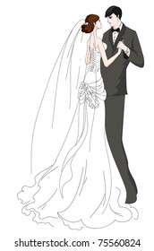 Hand drawn bride and groom