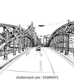 Hand drawn bridge, city sketch, vector illustration