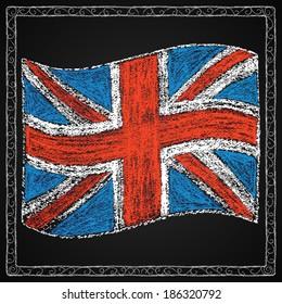 Hand drawn british flag. Chalk on board. British flag in frame. Vector illustration.