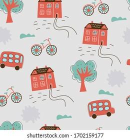 hand drawn british street vector seamless pattern