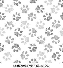 Hand drawn brown and black colored paw prints. Foot prints background
