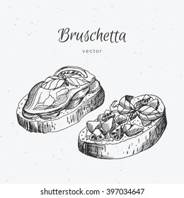 Hand drawn bruschetta