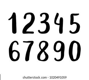 Hand drawn brush digits. Sans-serif handwritten sketchy font