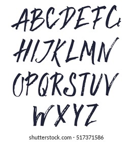 Hand Drawn Brush Font. Uppercase Hand Painted Ink Alphabet, Creative Letters for Your Design.