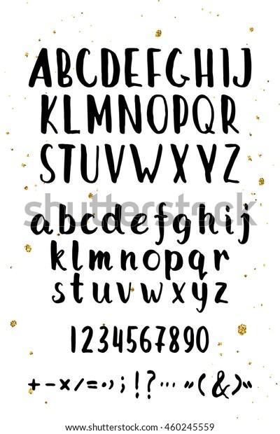 Hand Drawn Brush Font Uppercase Hand Stock Vector (Royalty