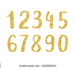 Hand drawn brush golden glitter digits. Sans-serif handwritten sketchy font
