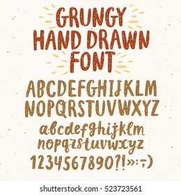 Hand drawn brush ink vector ABC letters and figures set. Grungy textured comic typeset for your design.