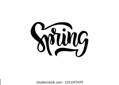 Hand drawn brush lettering Spring. Isolated black text. Season advertising. Template for card, invitation, banner, badge, flyer, poster. Vector illustration